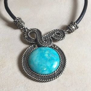 Statement Necklace Turquoise Leather Silver Tone